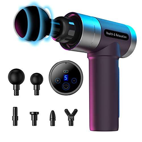 MILcea Massagepistole, Massage Gun,Tiefen massagegerät mit 5 Geschwindigkeiten, LED-Anzeige-Touchscreen Massage Gun, elektrisches Handmassagegerät mit 6 Massageköpfen für Nacken Schulter Rücken