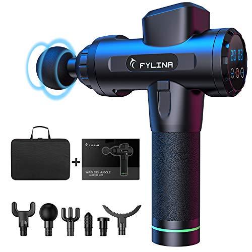 FYLINA Massagepistole, Massage Gun,Tiefen massagegerät mit 20 Geschwindigkeiten, LED-Anzeige-Touchscreen Massagepistole, elektrisches Handmassagegerät mit 6 Massageköpfen für Nacken Schulter Rücken