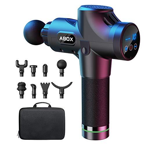 ABOX Massagepistole für Nacken Schulter Rücken Massage Gun Massagegerät Elektrisch Entspannen mit 8 Massageköpfen und 30 Geschwindigkeiten Vibrationsgerät Muskel, Schwarz