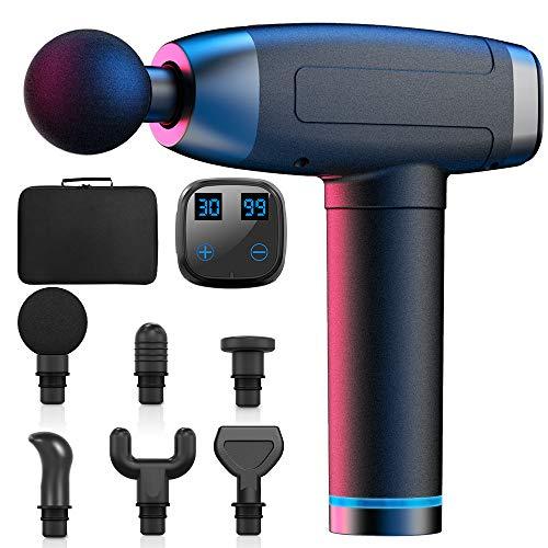 WELTEAYO Massagepistole für Nacken Schulter Rücken Massage Gun Massagegerät Elektrisch Entspannen mit 6 Massageköpfen Vibrationsgerät und 30 Geschwindigkeiten Muskel (Schwarz)