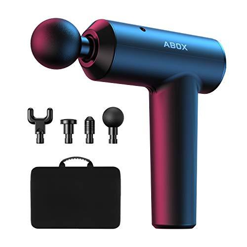ABOX Massagepistole, elektrisches Handmassagegerät mit leistungsstarkem Motor, 3 einstellbaren Geschwindigkeiten und 4 Massageköpfen, RC-MG-026
