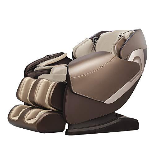 Real Relax Massagesessel SL-Track 3D Shiatsu Liegesessel mit Musikmassage, Braun