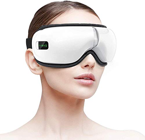 HOMIEE Elektrisches Augenmassagegerät, Bluetooth Massage Augenmaske Vibration Wärmefunktion, Musik, Faltbar Wiederaufladbar, Augentherapie zur Linderung Augenermüdung, verbessert trockene Augen