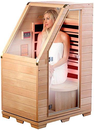 newgen medicals Sitzsauna für Zuhause: Kompakte Infrarot-Sitzsauna aus Hemlock-Holz, 760 W, 0,62 m² (Mini Infrarotkabine)
