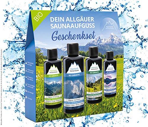 Saunaaufguss-Set mit 100% BIO-Sauna-Öle 4x100ml - ✓ Allgäuer Erfrischung ✓ Allgäuer Naturluft ✓ Allgäuer Atemwohl ✓ Allgäuer Zapfenstreich. Das Bio-Saunaduft Set. Bio-Saunaöl-Set.
